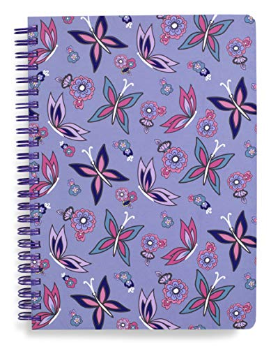 "Vera Bradley Purple Butterfly Mini Spiral Notebook, 8.25"" x 6.25"" with Pocket and 160 Lined Pages, Makani Paisley"
