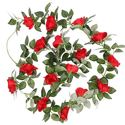 Valse rozen vinnen bloemen kunstmatige hangende slinger home hotel kantoor bruiloft tuin handwerk kunst decoratie rood