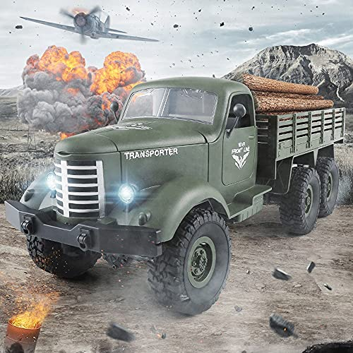 Moerc 6WD Military Pickup Truck RC Car, 1/16 RC-Heavy Trucks, 2.4g Radio-Fernbedienung Buggy, Hochgeschwindigkeits-Rock-Raupenwagen für Kinder Erwachsene (Größe : 2battery Packs)