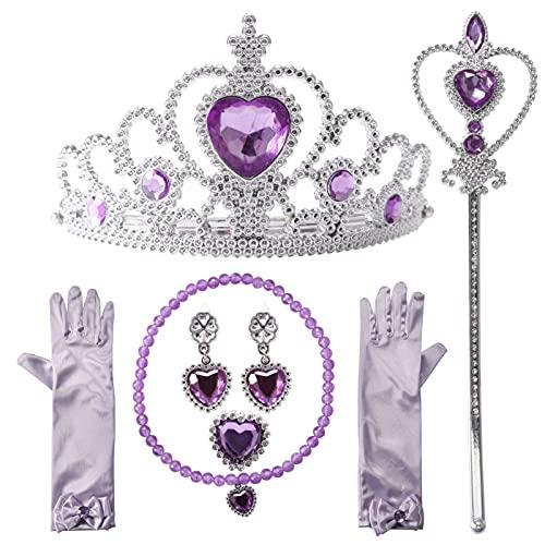 Nuts OT nuts Prinzessin Kostüme Zubehör, ELSA Eisprinzessin Set of 6 Mädchen Dress up Zubehör,1 x Paar ELSA Handschuhe, 1 x ELSA Krone, 1 x Zauberstab, 1 x Halskette, 1 x Ring, 2 x Ohrring,Lila
