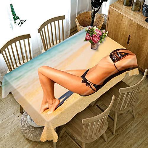 Amody Mantel Cuadrado Impermeable, Mantel Jardin Playa Sexy Bikini Mujer Mantel para Mesa Vistoso 140x220CM