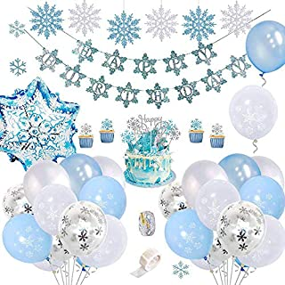 Blue and White Birthday Decoration Party Supplies Set (72 PC), Balloons, Cupcake Cake Toppers, Banner, Ice Flakes, Ribbon ...