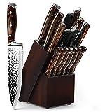 IOZSI 15pcs Cuchillo de Cocina Set Professional Chef Knives Cuchillos de Acero Inoxidable de Carbono Bloque de Madera Afilador de Cuchillos Tijeras de bistec