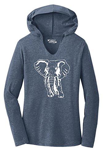 Ladies Hoodie Shirt Elephant Navy Frost M