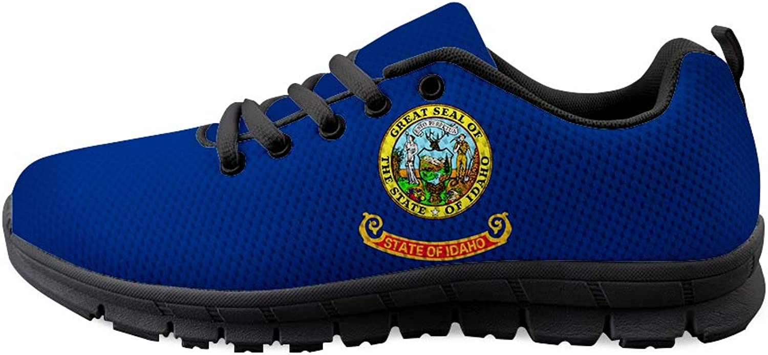 Owaheson Lace-up Sneaker Training shoes Mens Womens Gem State Idaho Flag