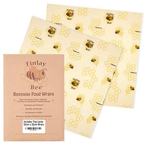Finlay Bee Bio handgemaakte bijenwasdoekjes voor levensmiddelen – bijenwaspapier – milieuvriendelijke kunststof vrij alternatief voor vershoudfolie – inclusief eBook met recepten voor het thema honing