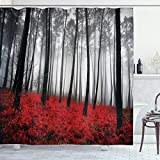 Ambesonne Forest Shower Curtain, Mystical Fantasy Woodland Under Heavy Fog Tall Trees Bushes Contrast Colors, Cloth Fabric Bathroom Decor Set with Hooks, 70' Long, Black Red Pale Grey