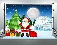 HD雪サンタクロース背景10x7ftギフト背景フェスティバルパーティー装飾用品写真撮影小道具綿DSFS313