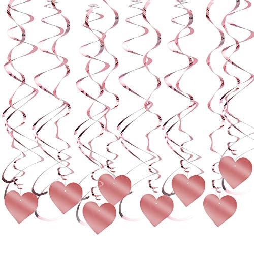 30 Stück Girlande Rosegold für Mädchen Partydekoration, Deckenhänger Spiral Girlanden Herzen Luftschlangen Glitzer für Geburtstag Party Deko, Hochzeit Deko, Babyparty Deko