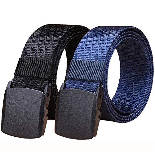 WYuZe 2 Pack Nylon Belt Outdoor Military Web Belt Men's Tactical Webbing Belt Waist Below 42 inch