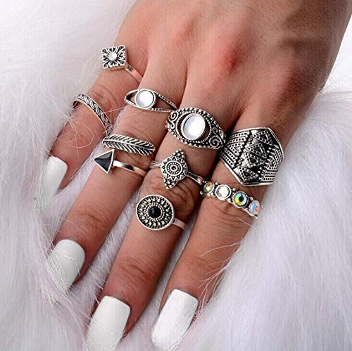 DJDLNK 10Pcs/Set Steampunk Silver Gold Crystal Ring Set Vintage Leaf Flower Feather Geometric Ring Resizeable Finger Ring Jewelry