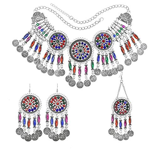 xiangwang Conjuntos de joyas para mujer con diamantes de imitación de colores, collares de cristal, pendientes y clips para el cabello, conjuntos de joyas indias (color metálico: color amarillo claro)