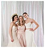 QueenDream 7ftx7ft Iridescent White Sequin Backdrop Backdrop Baby Shower Curtain Backdrop