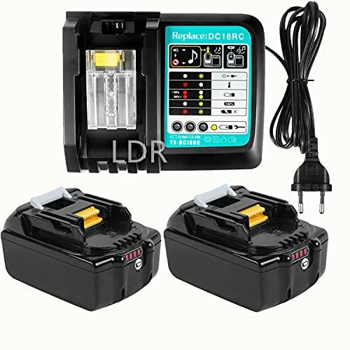 Batería de repuesto 18V 3,0Ah 2 unidades BL1830 con cargador de 3A para herramientas Makita 18V BL1850 LXT-400 BL1840