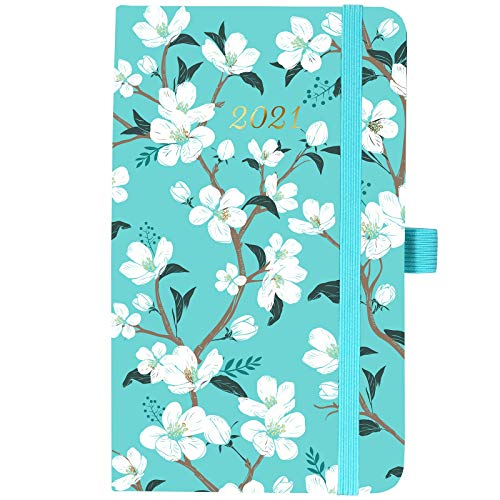 """2021 Pocket Calendar - Weekly & Monthly Pocket Planner, January 2021 - December 2021, Agenda Planner and Schedule Organizer with Pen Hold, Inner Pocket, Banded, 6.4"""" x 3.9"""