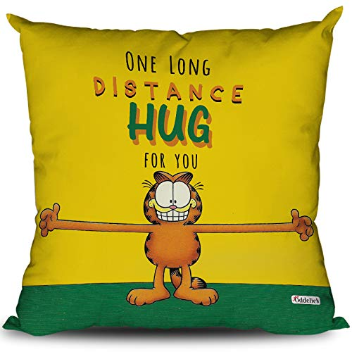 OddClick Gift for Girlfriend Boyfriend One Long Distance Hug for You Long Distance Relationship Printed Cushion Cover - Gift for Boyfriend Girlfriend (12X12 Inches with Filler)