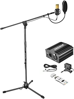 Neewer Condenser Microphone Kit: NW-800 Microphone (Gold),Microphone Floor Stand with Boom,48V Phantom Power Supply,Shock Mount, Pop Filter and USB Sound Card Adapter for Studio Voice Recording