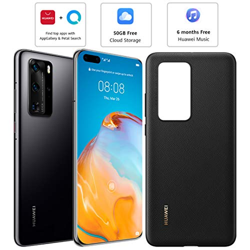 Huawei P40 Pro (5G) ELS-NX9 Dual/Hybrid-SIM 256GB Factory Unlocked Smartphone - International Version (Black)