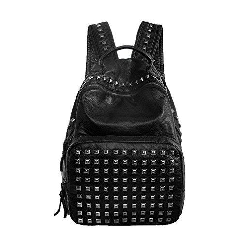 Fanshu Damen Trendy PU Leder Rucksack Mode Nieten College Schultasche Mädchen Freizeit Travel Backpack(Schwarz)