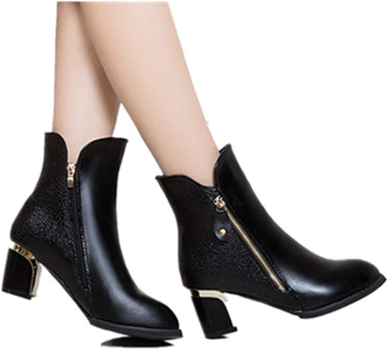 Smart.A Women's Slip on Chunky Heel Ankle Boot