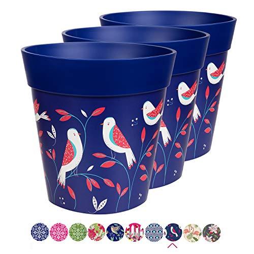 Hum Blumentöpfe im 3er-Set, Kunststoff, Vogel, blau, farbenfrohe Pflanzgefäße, Blumentöpfe für drinnen und draußen, 22 x 22 cm