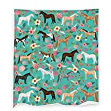 Horse and Flowers Flannel Throw Blanket Warm Plush Cozy Soft Fleece Blankets for Sofa Couch Bed Office Camping All Seasons