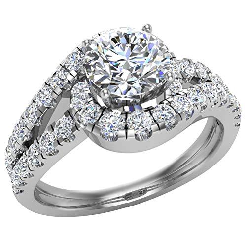 Engagement Rings for women 14K White Gold Diamond Ring Ocean Wave Style 1.25 carat t.w.