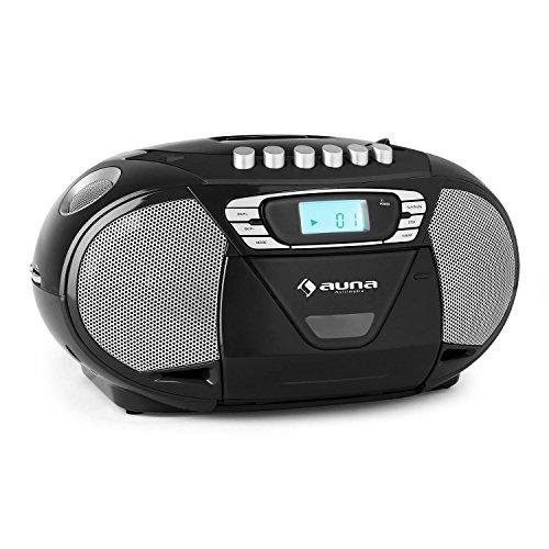 AUNA KrissKross - CD-Radio, Boombox, Radio, CD- / MP3-Player, Kassettendeck, MP3-fähiger USB-Port, UKW-Tuner, AUX, Wiedergabeprogrammierung, Netz- / Batterie-Betrieb, tragbar, schwarz