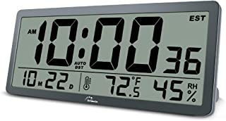 WallarGe Large Digital Wall Clock - 14 Inches Oversized Battery Operated Desk Clock with Temperature,Humidity,Date and Sec...