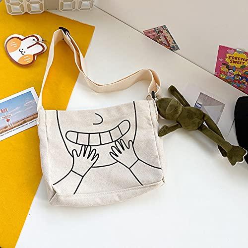 Mochila Creativa Bolso Mochila De Cómic De Moda Viene con Colgante De Marioneta De Rana Bandolera Ajustable Bandolera De Lona para La Escuela Viajes Camping