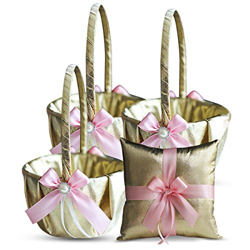 RomanStore GOLD & PINK Wedding Ring Bearer Pillow and Flower Girl Basket Set – Satin & Ribbons – Pairs Well with Most Dresses & Themes – Splendour every Wedding Deserves