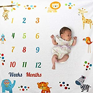 IWILCS Baby Mensual Milestone Blanket, Baby Blanket, baby blanket para recién nacidos, Baby Blanket para Animal, Baby…