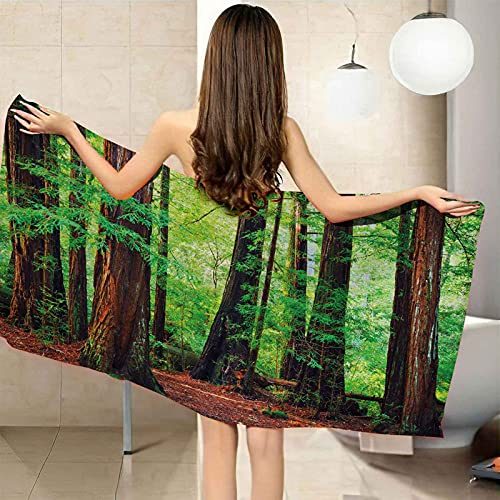 CGBNDS Large Microfiber Beach Towel Big Tree in Green Forest Bath Towel Sports Towel/Swimming Towel/Pool Towel Hand Towel 40x71inch for Kids and Adults Girls Women Men Best for Travel Camping