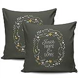 N/A Decoración del hogar Fundas de cojín Fundas Verde Oliva y Blanco Cita Faith Hope Love Bible Funda de Almohada Square Two Sides Print