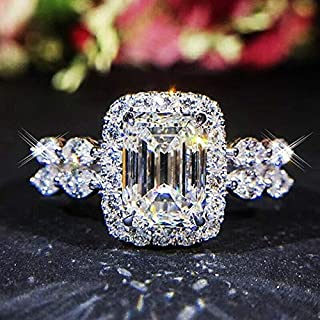 Phetmanee Shop Gorgeous Double Band Clear Crystal Emerald Cut White Gold Filled Engagement Ring (8)