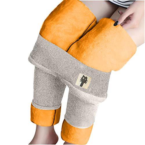 SmallYin Pantalones CáLidos Acolchados de Terciopelo para Mujer, Mallas de Terciopelo de Cordero Gatito, Medias de Cintura Alta de OtoñO e Invierno, Pantalones CáLidos y Suaves