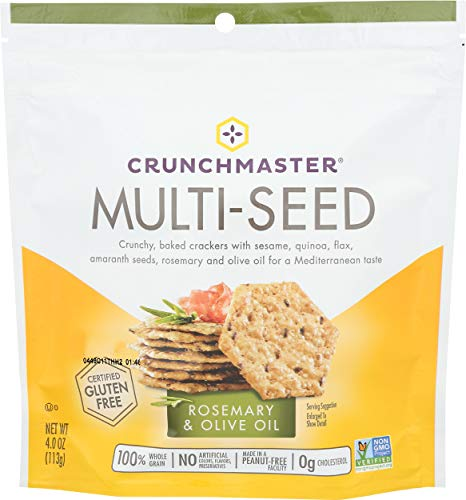 Crunchmaster, Crackers Multi Seed Rosemary Olive Oil Gluten Free, 4 Ounce