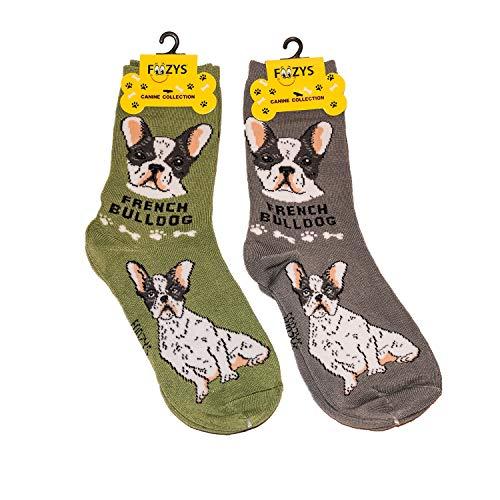 Foozys Unisex Crew Socks   Canine/Dog Collection   French Bulldog