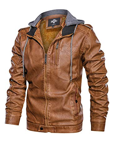 HOOD CREW Men's Brown Stand Collar Warm PU Faux Leather Zip-Up Motorcycle Jacket with a Removable Hood