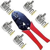 Crimpadora Coaxial y Conector N Macho 5 Piezas, Kagni Conector Coaxial Tipo N y Kit de Herramientas de Compresión Cable Coaxial para RG58 LMR195 LMR200 RG223 RG142
