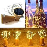 elegantstunning 2 M 20 Pcs De Couleur De Noël Lampe De Vin Solaire Bouteille De Bouchon De La Lampe Chaîne Blanc Chaud Lumière Solaire 2m 20