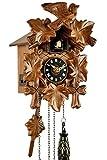 Eble, orologio a cucù, in vero legno, alimentato a batterie, a quarzo, suona il richiamo del cuculo, a cinque foglie, 22 cm