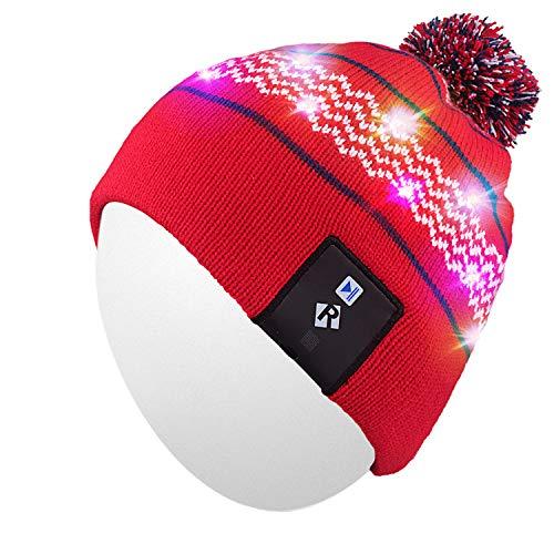 Qshell LED String Leuchten Beanie Hut Strickmütze mit Kupferdraht Bunte Lichter 4 Füße 18 LEDs für Männer Frauen Innen und Outdoor, Festival, Feiertag, Feier, Parteien, Bar, Rot