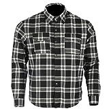 Bikers Gear Australia Limited - Camiseta de franela con forro de aramida para motocicleta Kevlar (talla XL), color negro y blanco