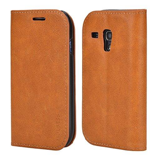 Mulbess Handyhülle für Samsung Galaxy S3 Mini Hülle Leder, Samsung Galaxy S3 Mini Handytasche, Slim Flip Schutzhülle für Samsung Galaxy S3 Mini Hülle, Braun