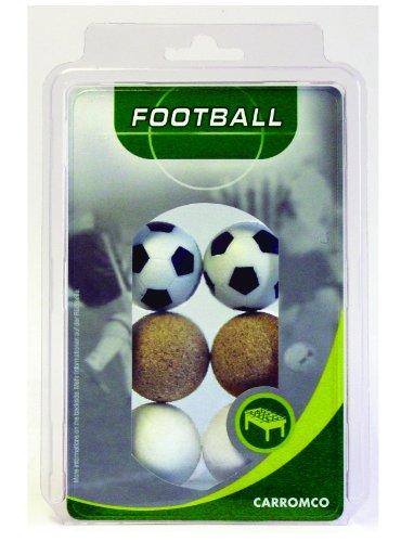 Carromco 62606 Pelotas de futbolin, Unisex, Multicolor (Negro y Blanco/Blanco/Corcho Natural), 36 mm Conjunto de 6