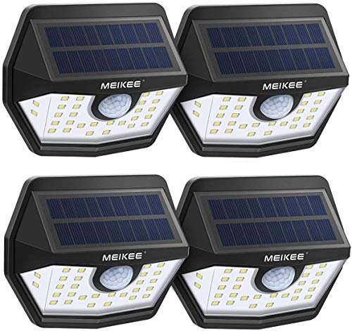 Solar Lights Outdoor,MEIKEE IP65 Waterproof Motion Sensor Solar Lights, Easy to Install Solar Wall Lights with 120° Wide Angle, LED Solar Lights Perfect for Patio, Yard, Garden, Garage (4-Pack)