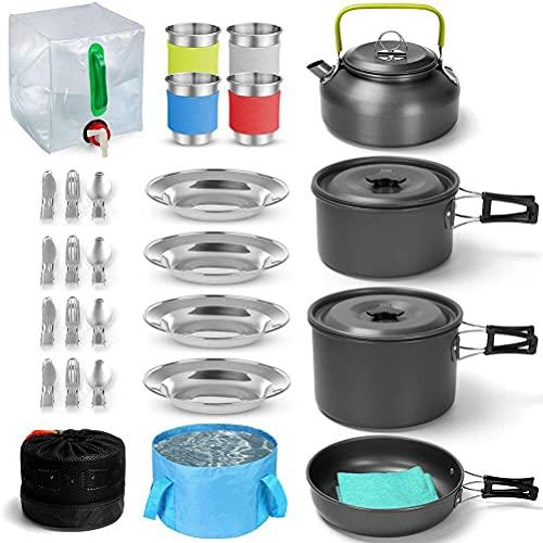 BBABBT Juego de cocina de camping de acero inoxidable para picnic, cacerolas y sartén de aluminio y acero inoxidable antiadherente, para 4-6 personas
