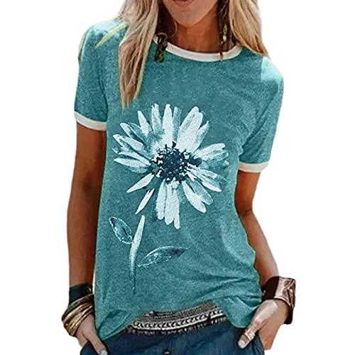 Sommer Damen Kurzarm T-Shirt Top Mit Blumendruck Und Rundhalsausschnitt