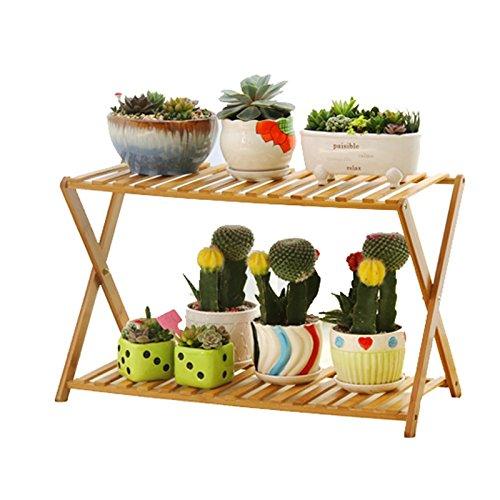 LI MING SHOP-Flower stand WLM Support de Jardin Pliable en Bambou pour intérieur ou extérieur, Support de Sol Multicouche 70/90/100 A +, 70 cm